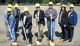 Left to right are Dori Lechner, Parks Project Manager; Bruce Dees, Landscape Architect; Jim Dunwiddie, Parks Department Director; Mike Walton, Executive Director for the Kitsap Public Facilities District; Josh Brown, Central Kitsap Commissioner; Jim Heins, KPFD Board Treasurer; Kathleen Simpson, Parks Advisory Board; and Jim VanAntwerp, from Fields Today, Fit Tomorrow.