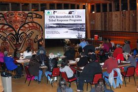Port Gamble S'Klallam tribal members and community members attend an Oct. 18 presentation about cleanup efforts in Port Gamble Bay. (Photo by Luis Barrantes)
