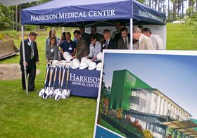 An artist's rendition of Harrison Medical Center's new orthopaedic hospital is displayed at the groundbreaking May 17 in Silverdale.