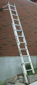 Levelok's patented ladder-leveling device stabilizes a ladder on an uneven surface.