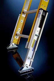 Levelok's patented ladder-leveling device