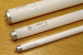 Older T12 fluorescent bulbs are being phased out and replaced with thinner, more energy-efficient T8 and T5 bulbs.