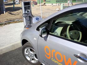 The community has a charging station for an electric vehicle that's available for residents to use.