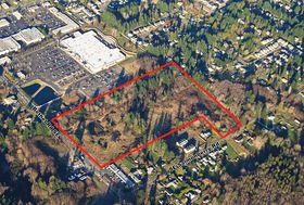 Area outlined in this aerial photo shows the property along Bethel Road in Port Orchard owned by Home Depot that is for sale. (Photo courtesy Home Depot)