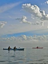 Paddlers in double kayaks on Dyes Inlet near Silverdale. (Photo by Spring Courtright)