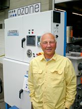 Jim Brandt stands outside the manufacturing plant on Bainbridge Island where Ozone International assembles its patented WhiteWater sanitation systems that are widely used in the food processing industry.