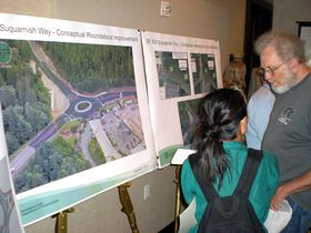 The design of a potential roundabout at State Route 305 and Suquamish Way was one of the options for traffic improvements at the busy intersection displayed at an informational open house that the Washington State Department of Transportation held recently at Suquamish Clearwater Resort Casino, which is located on the south side of the intersection.