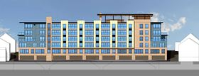 An architectural rendering shows the proposed Spyglass Hill apartment building, which would have 80 units on five floors with a parking level below the building. The site is atop a retaining wall in the 600 block of Washington Avenue near the Manette Bridge in downtown Bremerton. (Sound West Group illustration)