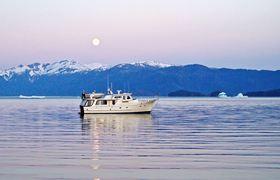 One of the scenic settings where the Henrys anchor in the waters off Alaska's southeast coast.