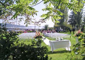 The Port of Allyn's waterfront park is one of many scenic locations around the Kitsap Peninsula that are popular spots for summer weddings. (Photo courtesy Port of Allyn)