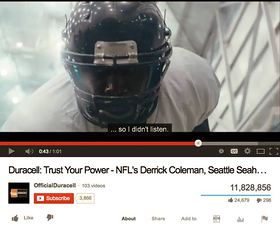 Duracell's video about Seattle Seahawks player Derrick Coleman is a good example of content marketing.