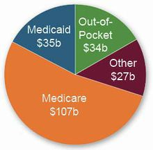 Graphic shows sources for $203 billion in annual U.S. spending on Alzheimer's care. (Alzheimer's Association)