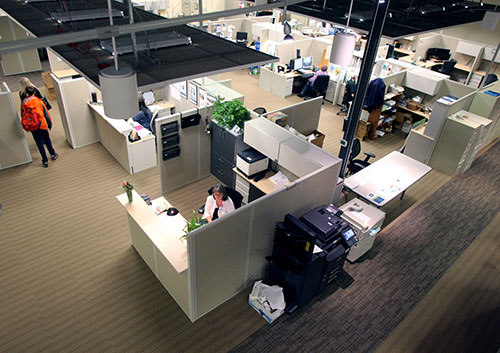 Harrison Medical Center reconfigured a large vacant building on Wheaton Way in Bremerton that had been retail space into offices for its support services staff.