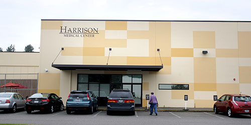 The exterior of the Harrison office building, which used to be a Michaels craft store.