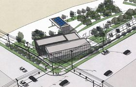 Artist's rendering shows what the new glass-walled building will look like. There will be solar panels (shown in blue) on the canopy over the bank's drive-thru lanes. (Kitsap Bank illustration)