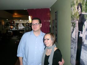 An enlarged photo on the wall behind John and Laura Nesby shows one of their grandmothers in the MorMor Bistro. The couple chose their restaurant's name (mormor is the Scandinavian word for grandmother) to honor their grandmothers who inspired their love of cooking. Although the couple have closed MorMor and are transforming their establisment to reopen in February as The Green Light Diner, they plan to keep family photos as part of the new decor. (Tim Kelly photo)