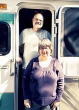 Donna and Jim Smeall in front of their RV while visiting her parents in Florida. (Courtesy Photo)