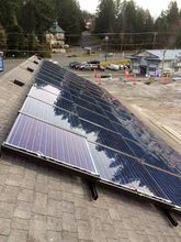 A 700-square-foot array of 44 solar panels was installed on the roof of Liberty Bay Auto in Poulsbo. The business worked with Washington Solar Incentives on the project. (Photo courtesy Liberty Bay Auto)